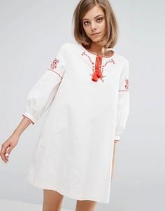 Парусиновое платье с вышивкой Vanessa Bruno Athe - Белый