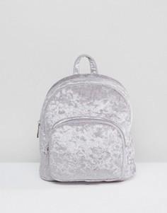 Миниатюрный бархатный рюкзак с карманом спереди ASOS - Фиолетовый