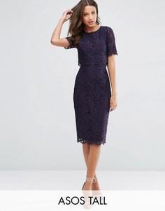 Кружевное платье-футляр миди с укороченным топом ASOS TALL - Темно-синий