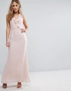 Платье макси на бретельках с рюшами Elise Ryan - Розовый