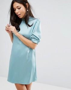 Атласное платье с высокой горловиной Fashion Union - Зеленый