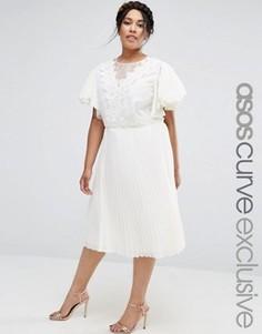 Платье миди с отделкой кроше и вставками из органзы ASOS CURVE - Кремовый c05b263618a