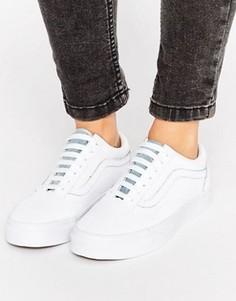 Белые кожаные кроссовки с джинсовой вставкой Vans Old Skool - Мульти