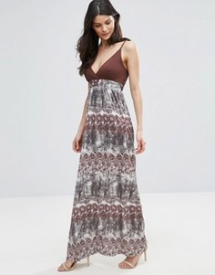 Платье макси с деревьями Jasmine - Коричневый