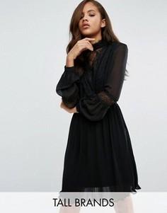 Короткое приталенное платье с кружевом Vero Moda Tall - Черный