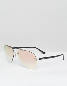 Солнцезащитные очки-авиаторы цвета розового золота без оправы Ray-Ban - Золотой