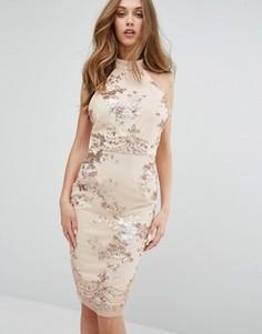 Платье миди с отделкой пайетками и высокой горловиной Missguided - Золотой