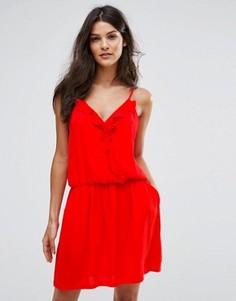 Платье-комбинация с оборками See U Soon - Красный