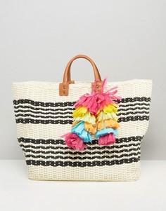 Плетеная пляжная сумка в полоску Chateau - Белый