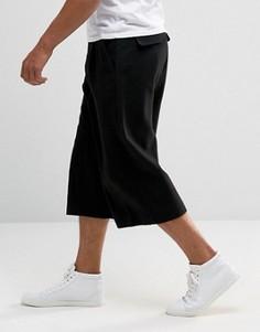 Черная юбка-брюки в строгом стиле с регулируемыми хлястиками по бокам ASOS - Черный