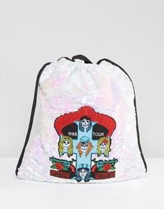 Расшитый пайетками рюкзак на шнурке с нашивкой Guns N Roses Sacred Hawk - Серебряный