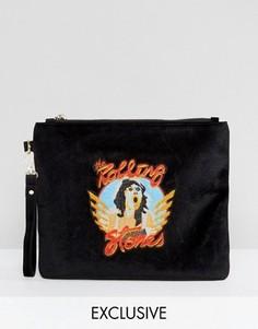 Бархатный клатч с надписью Rolling Stones Sacred Hawk - Черный