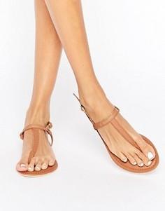 Кожаные сандалии с перемычкой между пальцами Boohoo - Рыжий