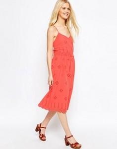 Сарафан миди с вышивкой ришелье ASOS - Розовый