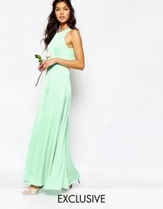 Платье макси с открытой спиной и разрезами Fame and Partners Asleigh - Зеленый