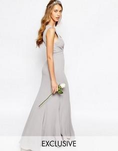 Платье макси с асимметричным краем Fame and Partners Everland - Серый