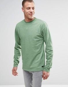Меланжевый джемпер с круглым вырезом и разрезами у кромки ADPT - Зеленый
