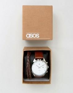 Часы и набор браслетов ASOS - Коричневый