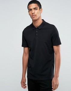 Черная удлиненная футболка-поло из ткани пкие ASOS - Черный