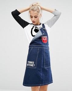 Джинсовое платье-комбинезон с нашивкой Mini Cream - Синий