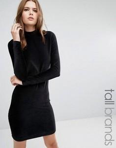 Облегающее платье из вельвета с высокой горловиной Vero Moda Tall - Черный