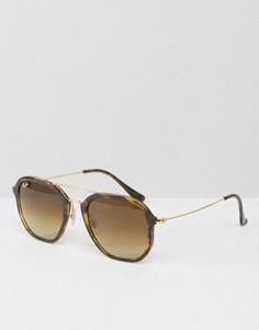 Черепаховые солнцезащитные очки с двойной металлической планкой Ray-Ban - Коричневый