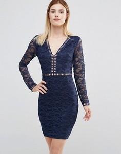 eba7b6e2d1a Платье мини с глубоким вырезом и кружевными рукавами AX Paris - Темно-синий