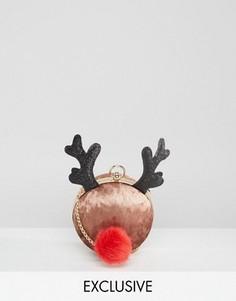 Эксклюзивная новогодняя сумка через плечо с оленем Valery - Коричневый