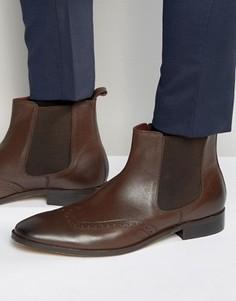 Коричневые кожаные ботинки челси с отделкой под броги Dune - Коричневый