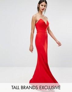 Платье макси с глубоким вырезом сердечком Jarlo Tall Helena - Красный