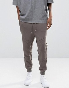 Серые зауженные джоггеры в байкерском стиле с карманами на молнии ASOS - Серый