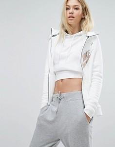Белый худи на молнии с большим логотипом металлик Nike - Белый
