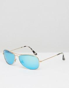 Квадратные солнцезащитные очки-авиаторы с зеркальными стеклами Ray-Ban 0RB3562 - Золотой