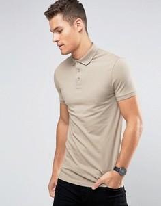 Бежевая длинная футболка-поло ASOS - Бежевый