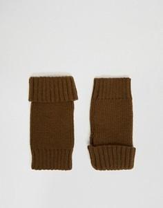 Перчатки без пальцев цвета хаки ASOS - Зеленый