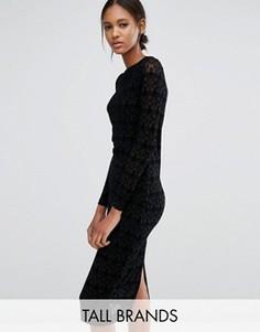 Кружевное платье с длинными рукавами Vero Moda Tall - Черный