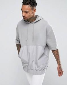 Свободное худи с короткими рукавами и карманом ASOS - Серый