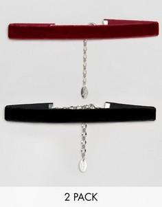 2 бархатных ожерелья-чокер Krystal - Черный