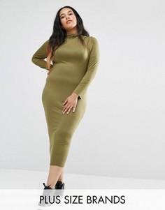 Платье миди размера плюс с высоким воротом Missguided Exclusive - Зеленый