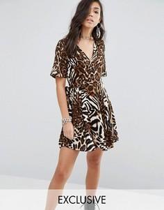 Платье с запахом и абстрактным леопардовым принтом Milk It - Мульти