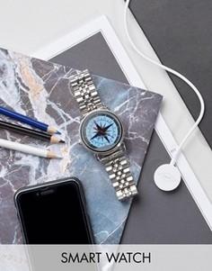 Серебристые смарт-часы Fossil Q FTW2111 Wander - Серебряный