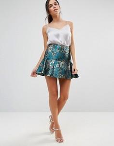 Короткая расклешенная юбка с отделкой металлик Helene Berman - Зеленый
