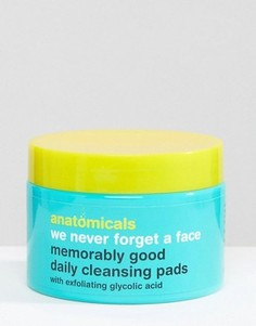 Anatomicals We Never Forget A Face - Очищающие ватные диски для лица с гликолевой кислотой x 60 шт. - Бесцветный