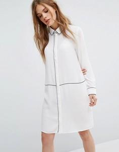 Платье-рубашка с кантом Selected Femme - Белый
