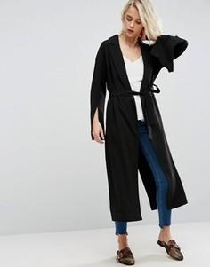 Длинное пальто с поясом и разрезами на рукавах ASOS - Черный