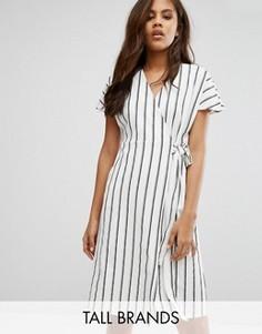 Чайное платье в полоску с запахом Vero Moda Tall - Мульти
