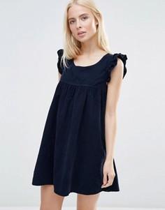 Цельнокройное платье с оборками на рукавах QED London Corduroy - Темно-синий