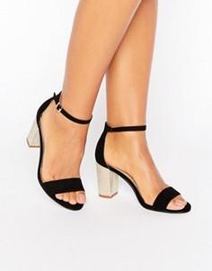 Сандалии с жемчужной отделкой на каблуке Miss KG - Черный