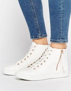 Высокие кроссовки с фурнитурой цвета розового золота Missguided - Белый