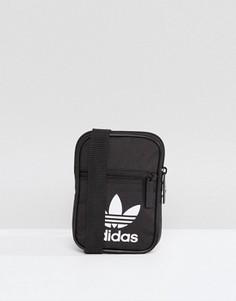 Маленькая черная сумка с логотипом-трилистником adidas Originals - Черный